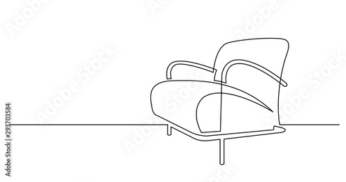 continuous line drawing of modern comfortable armchair Canvas Print