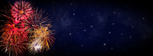 Fireworks On Blue Background W...