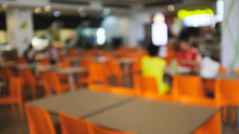 Abstract Blurred Of Food Court...