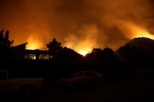 Fire Burning Hillside Silhouette