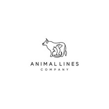 Line Logo With Cow, Dog, And Cat Design Vector Template