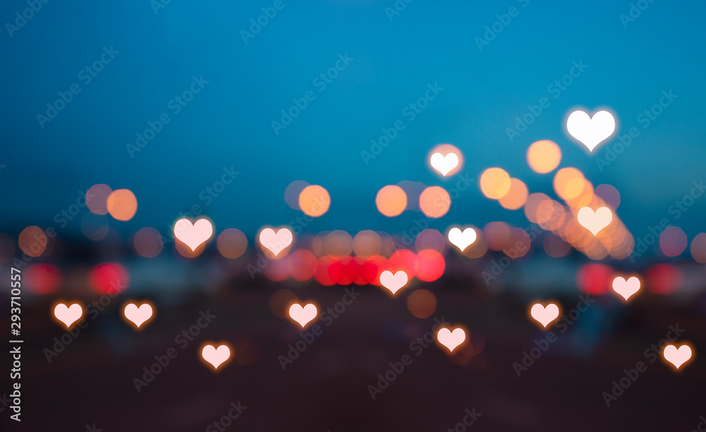 Fototapeta Abstract hearts lights background