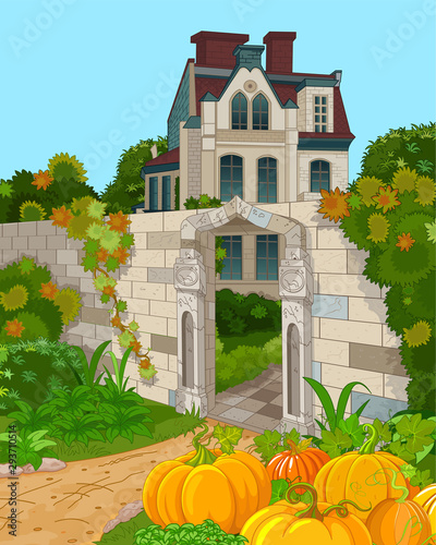 Poster Sprookjeswereld Victorian House Façade and Pumpkins
