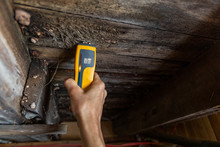 Indoor Damp & Air Quality (IAQ) Testing. A Close-up View Of A Home Inspector At Work In A Residential Basement, Assessing Signs Of Structural Defects Such As Wood Rot And Dampness, With Copy Space.