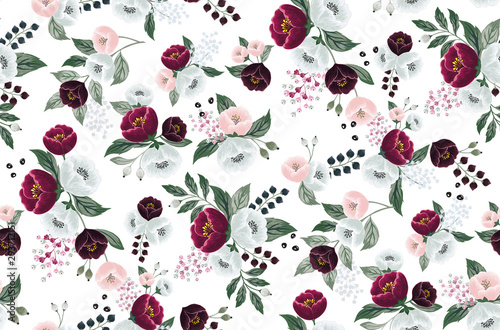 Türaufkleber Künstlich Vector illustration of a seamless floral pattern in spring for Wedding, anniversary, birthday and party. Design for banner, poster, card, invitation and scrapbook