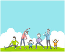 Illustration Material: Exercise, Sport, Gymnastic Family, People
