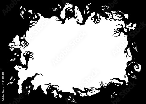 Halloween ghosts frame/ Illustration fantasy grotesque frame with ghost creature Wallpaper Mural
