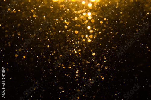 Fototapety, obrazy: Abstract gold bokeh with black background