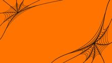 Spider's Web On Orange Background. Halloween