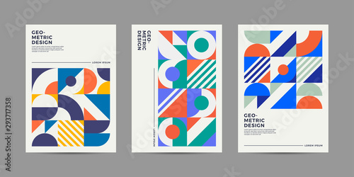 Obraz Placard templates set with Geometric shapes, Retro geometric style flat and line design elements. Retro art for covers, banners, flyers and posters. Eps10 vector illustrations - fototapety do salonu