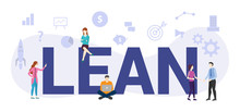 Lean Workflow Management Concept With Big Word Or Text And Team People With Modern Flat Style - Vector