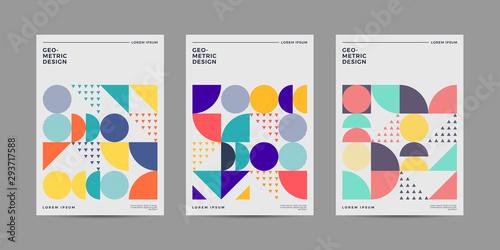 Papel de parede  Placard templates set with Geometric shapes, Retro geometric style flat and line design elements
