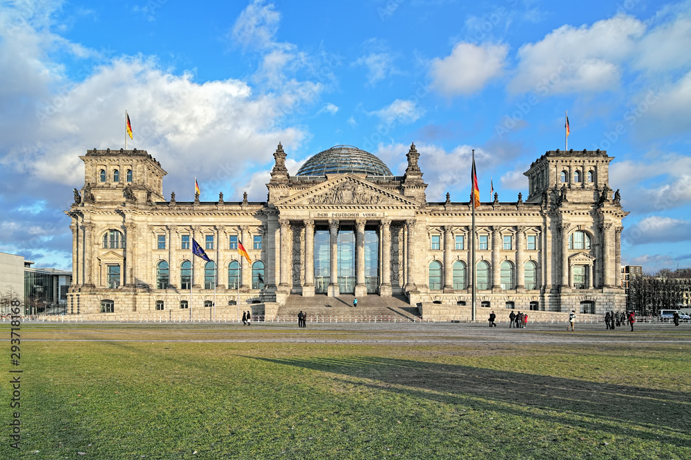 Fototapety, obrazy: Reichstag building in Berlin, Germany. Dedication on the frieze means