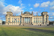 Reichstag building in Berlin, Germany. Dedication on the frieze means
