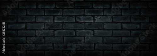 Fototapeta Old shabby black brick wall texture