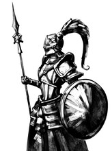 Knight With A Shield In Helmet With Tail, And With Spear, Is Worth In Profile . 2D Illustration.