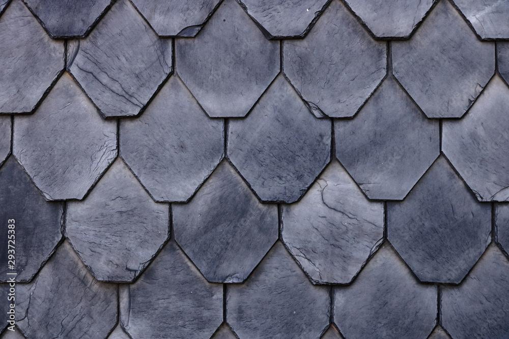 Fototapeta Aged slate roof tiles close-up