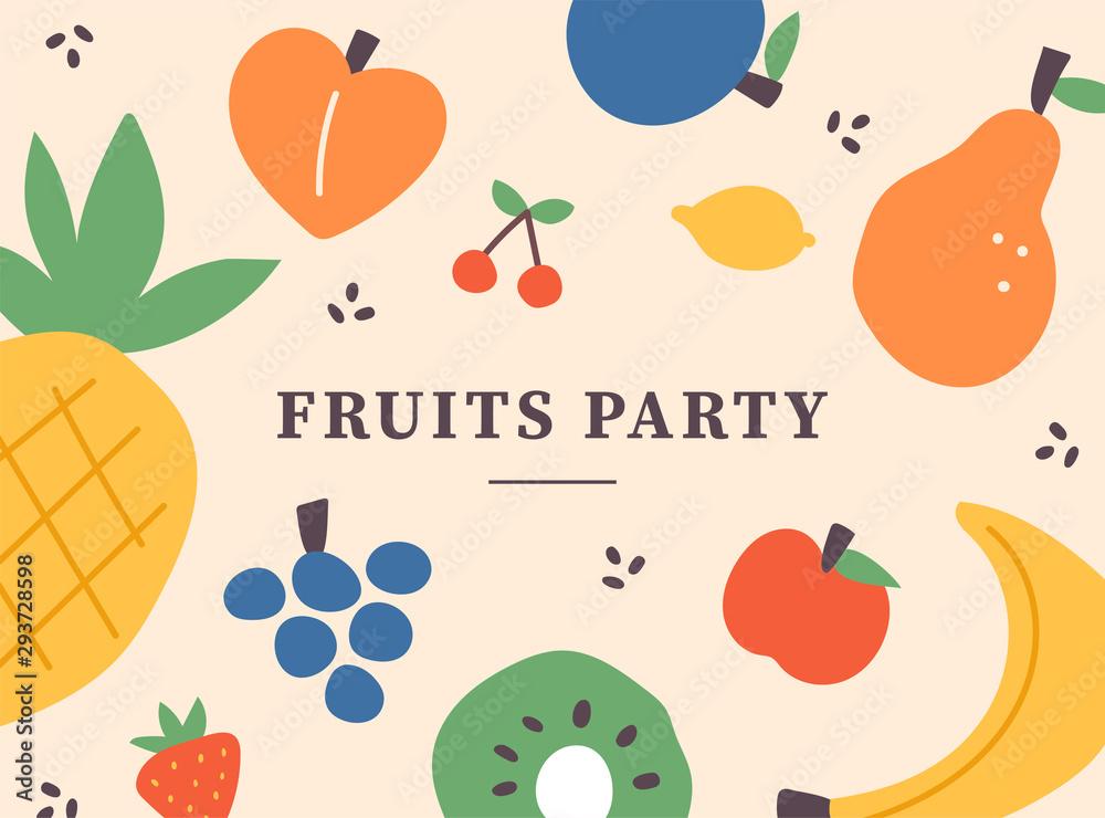 Fototapeta Fruit illustration pattern card. flat design style minimal vector illustration.
