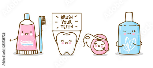 Photo  Cute tooth and objects for dental care isolated on white - funny toothpaste, bru
