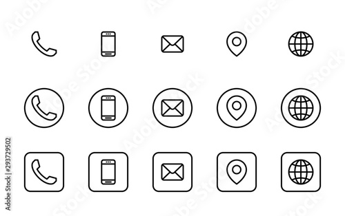 Cuadros en Lienzo 3 Different contact information icons in vector, Black