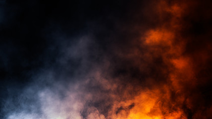 Abstract blue and orange smoke steam moves on a black background . Fog texture.