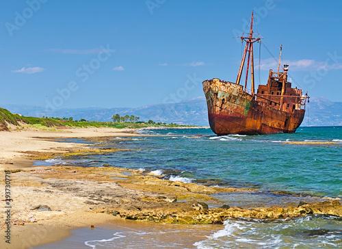 In de dag Schip Rusty big ship