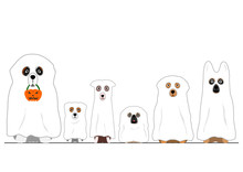 Halloween Ghosts Dogs In A Row
