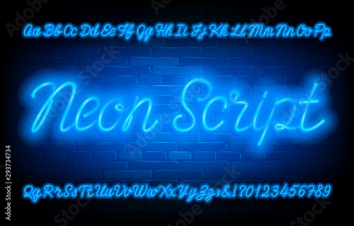 Valokuvatapetti Neon Script alphabet font