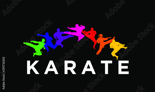 karate silhouette illustration vector template Fototapet