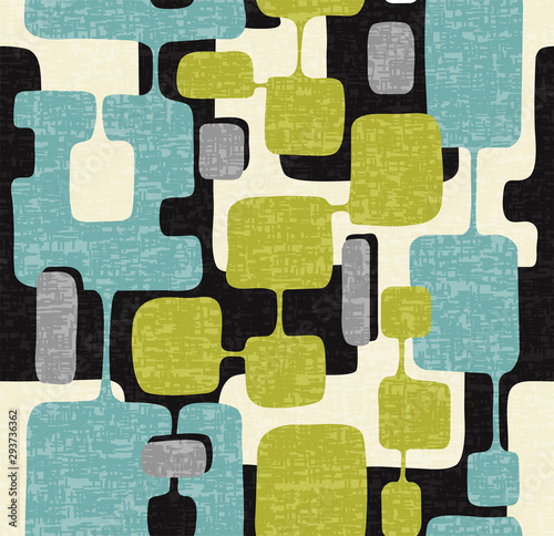 Photo Seamless abstract mid century modern pattern for backgrounds, textile design, wrapping paper, scrapbooks and covers