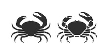 Tasmanian Giant Crab Silhouette. Isolated Crab On White Background
