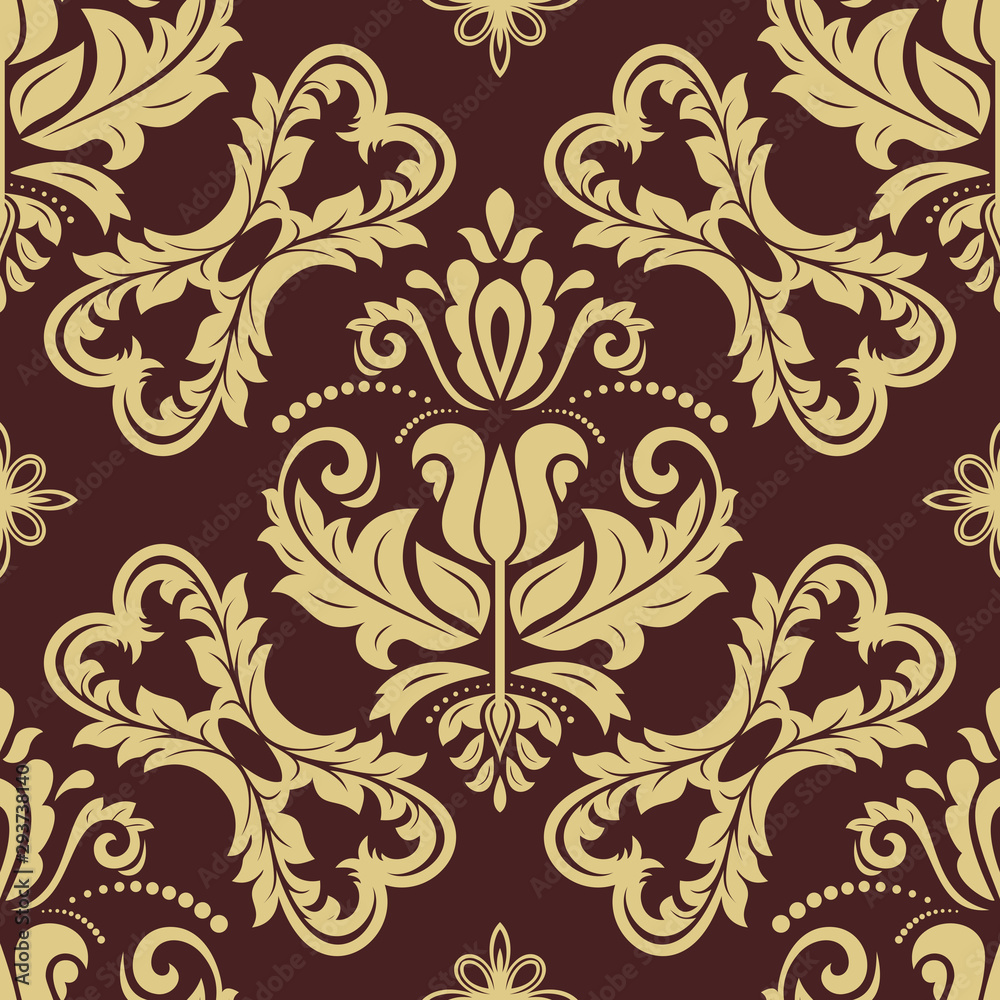 Orient vector classic pattern. Seamless abstract background with vintage elements. Orient background. Brown and golden ornament for wallpaper and packaging