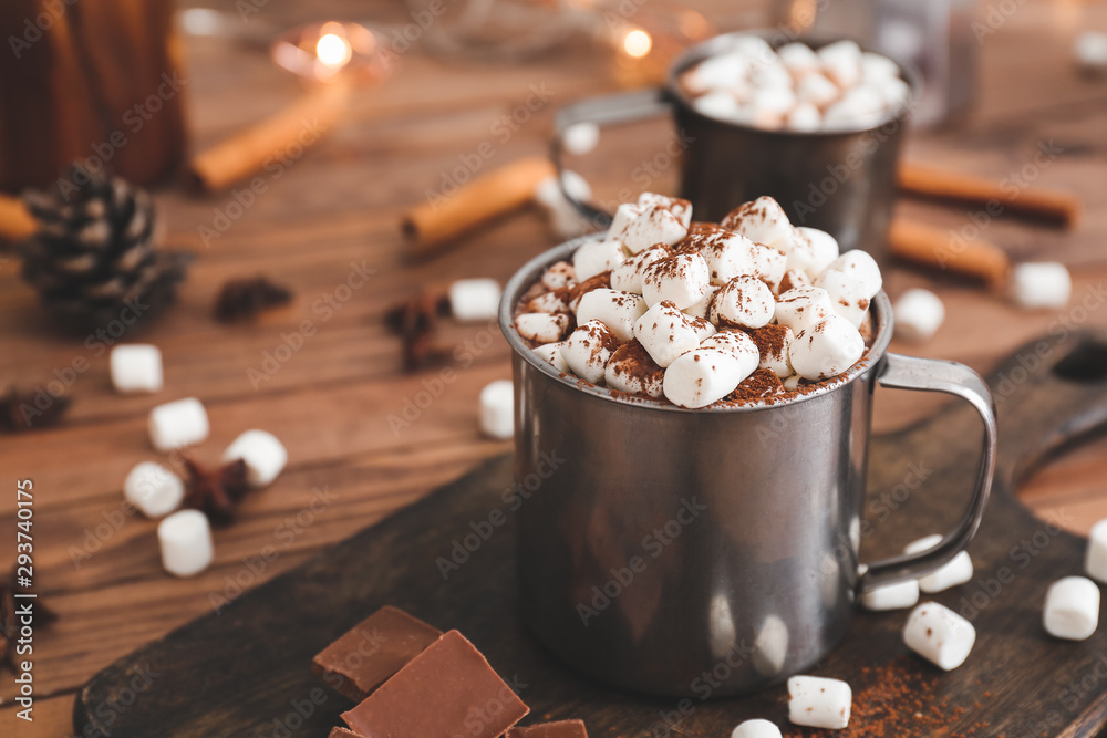Fototapety, obrazy: Cup of hot chocolate with marshmallows on table