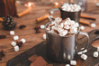 canvas print picture - Cup of hot chocolate with marshmallows on table