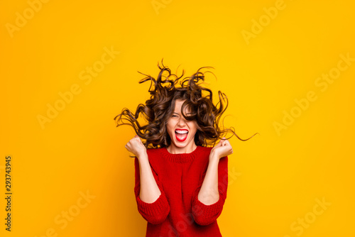 Photo of cheerful ecstatic funny hilarious victorious girlfriend rejoicing with Canvas Print