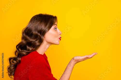 Obraz na plátně  Photo of wavy cheerful trendy charming fascinating sweet white lady sending air