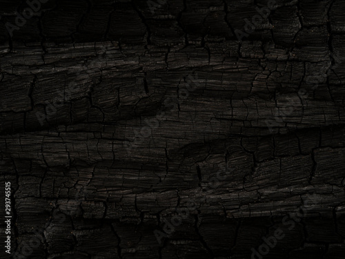 Poster Firewood texture The Surface of charcoal background.