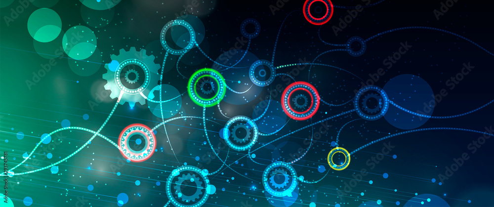 Fototapety, obrazy: Neural network concept. Connected cells with links. High technology process. Abstract background