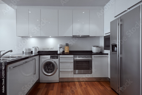 Photo view of nice photography studio contemporary kitchen set