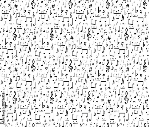 seamless musical symbols and marks seamless background with musical notes,  Seam Canvas Print