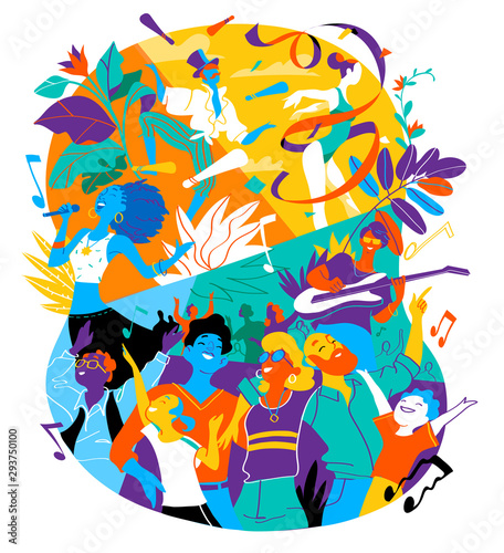 Poster for summer music festival, celebration, holiday party. A group of people, family, friends happy to be together celebrating a special event. Vector illustration - 293750100
