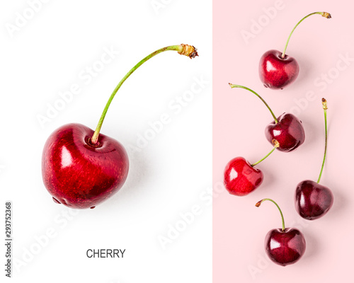 Montage in der Fensternische Kirschblüte Cherry fruits creative layout on pink background