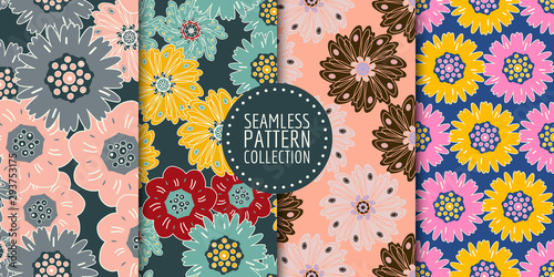 Türaufkleber Künstlich Floral seamless patterns collection. Vector design for paper, fabric, interior decor and cover