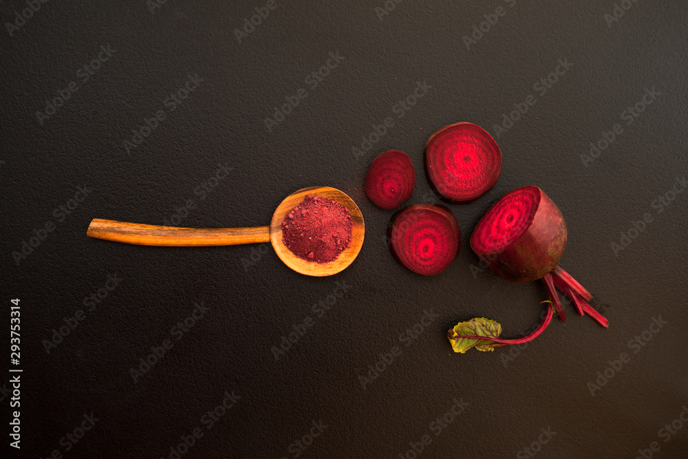 Fototapety, obrazy: Top view of Beetroot Powder in wooden spoon