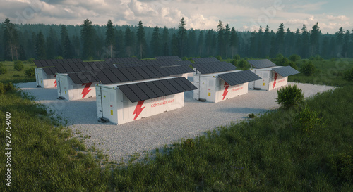 Valokuvatapetti Concept of solar container units situated in fresh nature with grass in foreground and forest in background