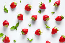 Many Sweet Ripe Strawberries With Mint On White Background