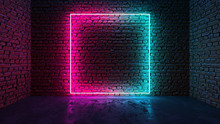Square Shaped Glowing Neon Fra...