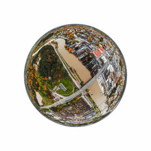 A Three Dimensional Panoramic Aerial View Of The Old Town Of Porvoo, Finland In A Mini Planet Panorama Style.
