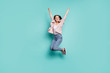 canvas print picture - Full length body size view of her she nice-looking pretty lovely attractive cheerful cheery straight-haired lady having fun isolated over bright vivid shine blue green teal turquoise background