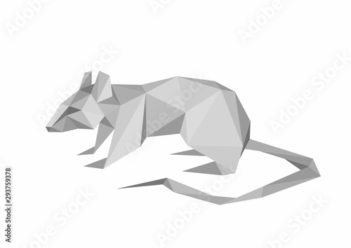 Faceted rat vector illustration. Gray mouse low poly concept.